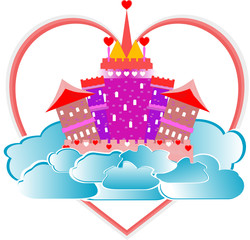 magical fairytale pink castle with heart and clouds on sky