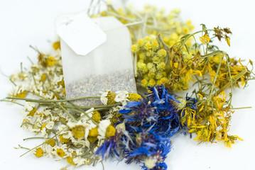tea bag of mix dried herbs