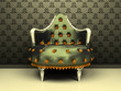 Luxury decorative armchair on ornament wallpaper background