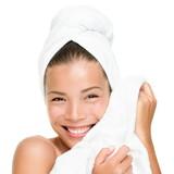 Spa beauty woman touching soft towel
