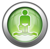 Green glossy 3D effect button