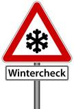 Fototapety Wintercheck Schild Zeichen Frost Winter check