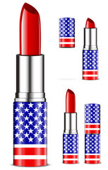 abstract usa lipsticks isolated on white background