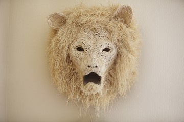 Close-up of a lion head decorated on a wall