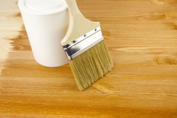Wood texture, can and paintbrush / housework