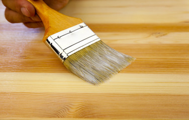 Wood texture, human hand and paintbrush / housework background