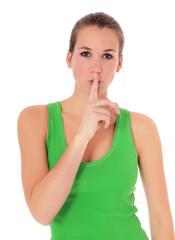 Attraktive junge Frau bittet um Ruhe
