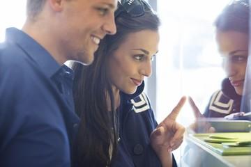 Young couple doing window shopping