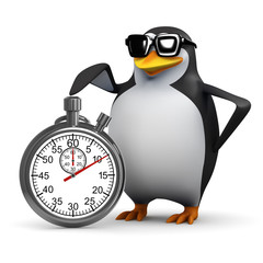 3d Penguin starts the race with a stopwatch