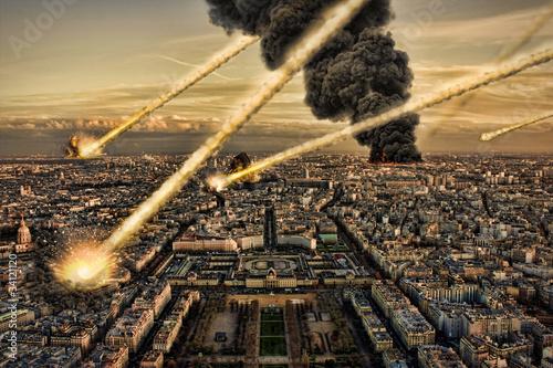 Meteorite shower over paris, destroying the city
