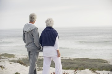 Rear view of a senior couple looking at the sea