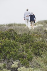 Rear view of a senior couple walking on the beach with their arms around each other