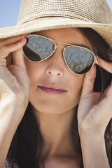 Close-up of a woman wearing sunglasses