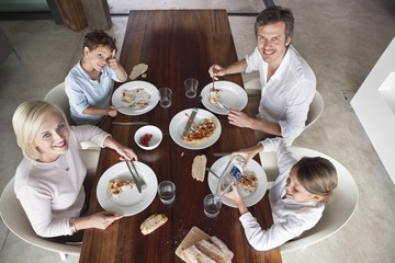 Family having food together