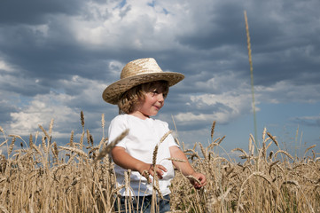 Blond boy in a field