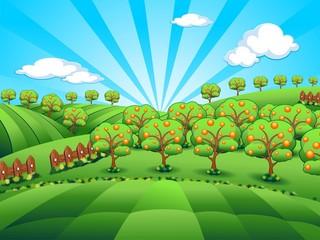 Paesaggio Campagna-Agricoltura-Country Landscape-Vector