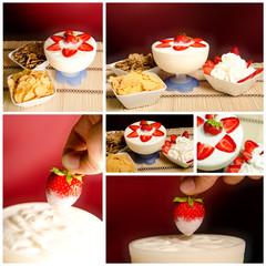 collage di foto di colazione yogurt e fragole