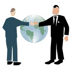 Symbolising business transparent white-handshake small world