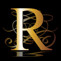 initial, gold, R