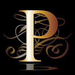 initial, gold, P