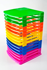 Colorful storage rack of music Compact Disks.
