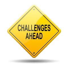 Señal amarilla texto CHALLENGES AHEAD