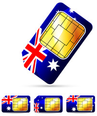 Australia sim card isolated on white background