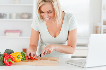 Woman enjoying to cook