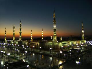 Nabawi Mosque, Medina, Saudi Arabia at dusk.