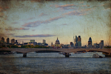 Panorama di Londra su texture retro