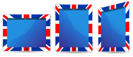 uk touchpad or tablet pc isolated on white background