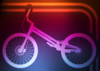 Professional trial mountain bike neon background vector