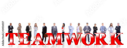 word teamwork and business people