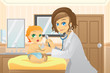 Pediatrician with baby