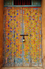 Islamic geometric art painted on door