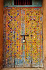 Islamic geometric art painted on door
