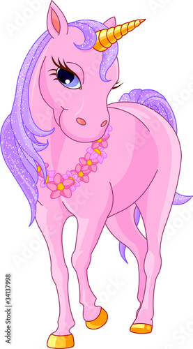 Tuinposter Pony Beautiful Pink Unicorn