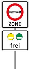Umweltzone Verkehrszeichen Vektor Feinstaubplakette grüne gelbe