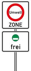 Umweltzone Verkehrszeichen Vektor Feinstaubplakette nur grüne