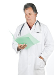 Doctor reading patient file
