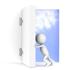 3D little human character opens a massive door. Sky background