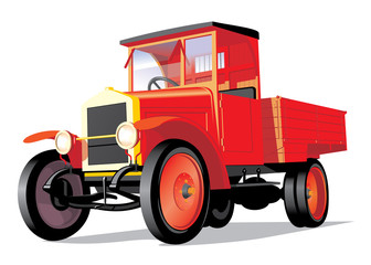 Vector isolated red retro truck