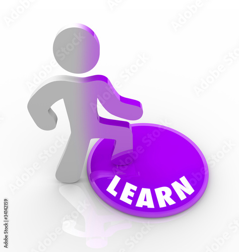Learn - Person Steps Onto Button and Fills with Knowledge
