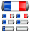 abstract france battery with different levels of charging