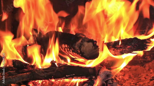 Hot fireplace full of wood and fire with the sound