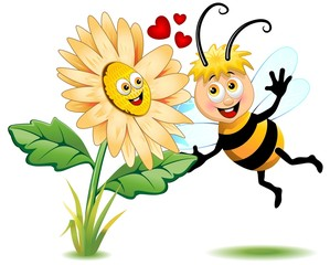 Ape e Fiore Cartoon-Cute Bee and Flower-Vector