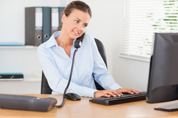 Busy businesswoman working