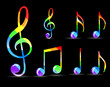 set of glossy rainbow music note isolated on black background