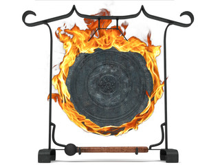 gong percussioni strumento musicale giapponese fiamme