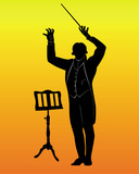 silhouette of a conductor with the music stand poster